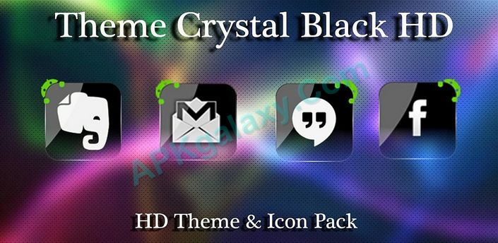 Theme Crystal Black Flat HD Apk